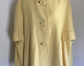 Vintage 60's Lemon Yellow Wool Cape with Chunky Buttons