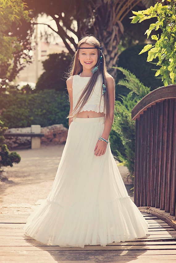 Boho-chic Flower Girl Dress Junior Bridesmaid Dress Boho