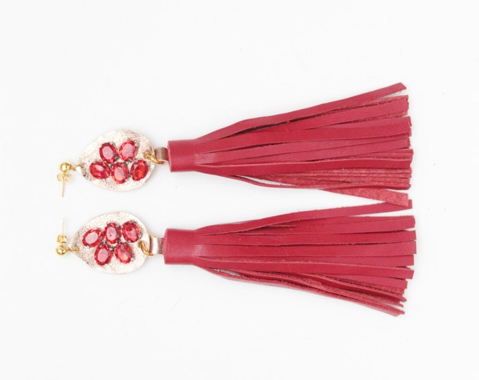Leather tassel earrings-Statement earrings-Red jewelry-Fashion earrings-embroidered gemstones-fringe earrings- red rose gold/ MIRACLE 20