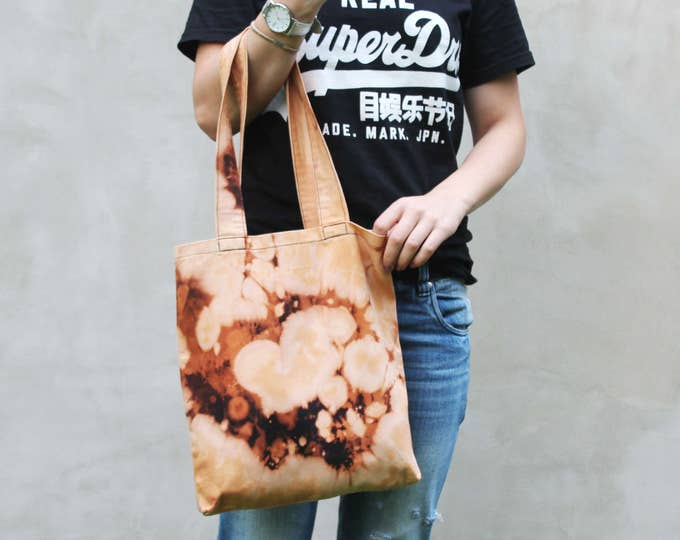 Cotton tote bag-shopping bag-carry all tote-bleached tote bag-splashes tote purse-black orange-ready to ship-one of a kind/ SIMPLE TOTE 14