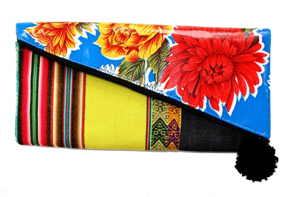 Blue floral, oil cloth, yellow, large clutch
