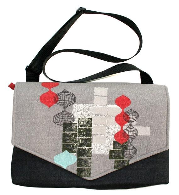 Vintage barkcloth, grey, mid century, laptop bag, Messenger bag, cross body bag