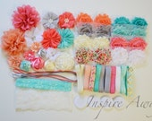 Shabby Chic DIY headband kit #3 , Corals/Aqua baby shower headband kit, DIY baby headbands, headband station, makes 30 headbands!!