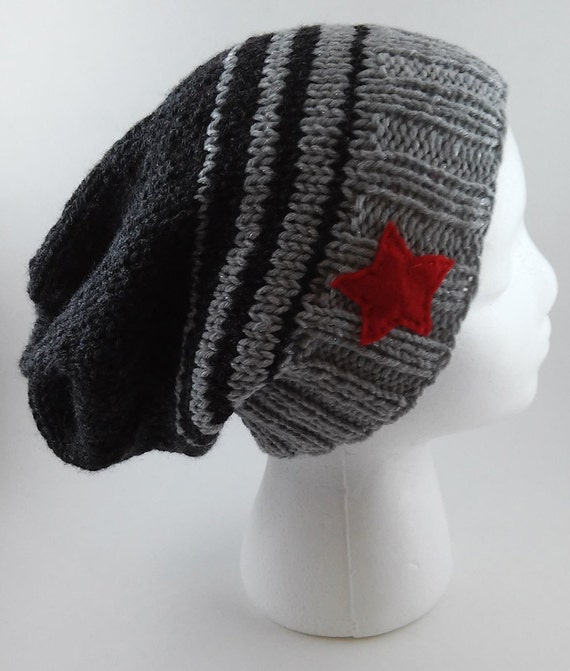 Knitting Pattern For Soldiers Hats : Winter Soldier Knit Slouchy Beanie MADE TO by tinyhappyknits