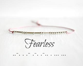 Fearless Morse Code Bracelet Inspiration Motivational Jewelry Dainty MInimalist Silk Cord Sterling Silver Bead Bracelet Morse Code Jewelry