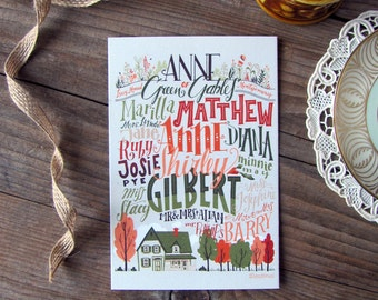 3 Anne of Green Gables cards, illustrated cards with matching envelopes
