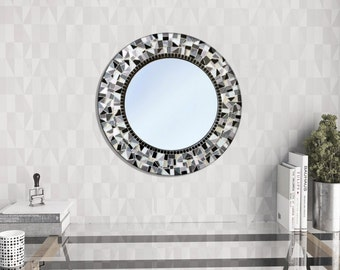 Round Mosaic Mirror Black White Gray