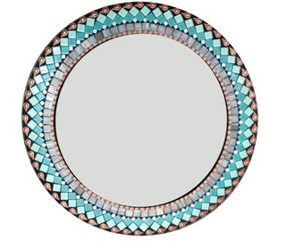 Round Wall Mirror in Turquoise, Teal, Gray, and Copper --  Mosaic Mirror --  Bathroom Mirror -- Wall Decor