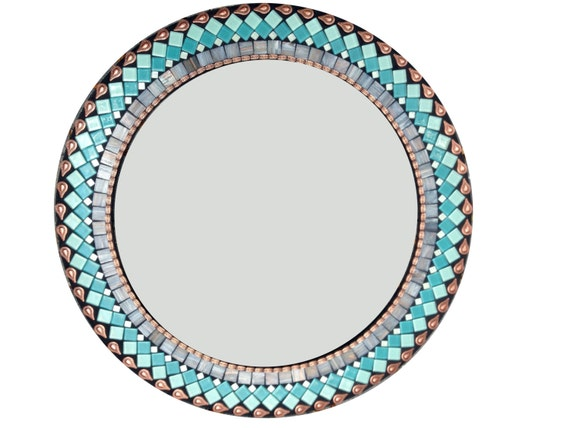 Turquoise Wall Mirror round wall mirror in turquoise teal gray and copper