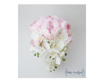 Cascade Bouquet, Silk Bouquet, Peony Bouquet, Tropical Bouquet, Beach Wedding, Orchid Bouquet, Orchid, Peony, Cascade Peony Bouquet, Blush