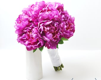 Silk Peony Bouquet - Fuchsia, Pink, Peonies, Peony, Bright Pink Peony Bouquet, Fushia, Wedding Bouquet, Peony Wedding Bouquet, Fuchsia Peony