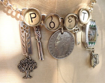 POET Necklace Custom Poetry Theme Necklace Vintage Typewriter Keys Gift for Writer Sterling Antiqued Brass Mixed Metal Charms Custom Design