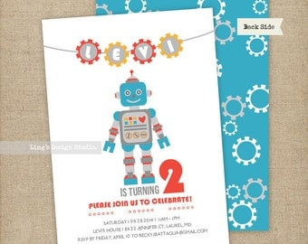 Robot Birthday Invitations Set | Printable