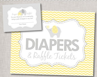 Gender Neutral Diaper Raffle Printable Insert Cards and Sign / Yellow Elephant Baby Shower Diaper Raffle