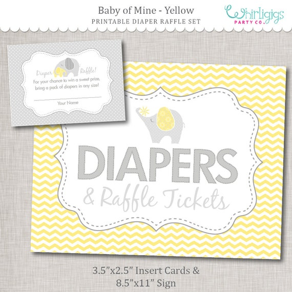 Gender Neutral Diaper Raffle Printable Insert Cards And