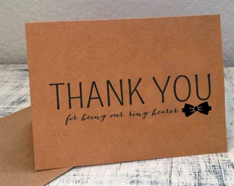1 Ring Bearer thank you card - Customized thank you card for ring bearer with wedding date