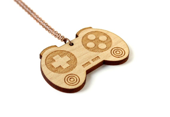 Controller necklace - geek pendant - video game jewelry - vintage technology - graphic jewellery - lasercut maple wood
