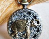 Elephant pocket watch,  Men's elephant pocket watch with tiger eye beads adorning chain