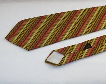 Vintage Men's Tie, Brown Red Yellow Mustard Stripes