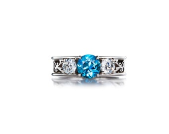 Swiss blue topaz filigree ring, white sapphire ring, engagement ring, unique, Blue engagement, wedding ring, white gold, sapphire, blue