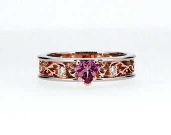 Heart cut Pink sapphire engagement ring, filigree ring, two tone wedding, diamond engagement, rose gold, pink engagement, sapphire heart