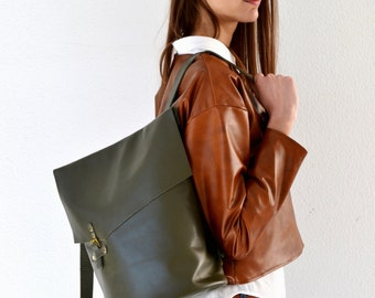 Green leather backpack / Soft leather bag / Leather backpack / Womens leather bag
