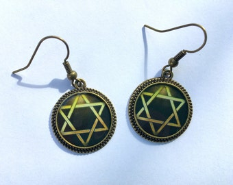 Star of David Earrings Jewelry Silver Bronze Picture Round