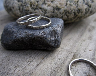 Patterned Midi Ring 3mm - Child's Ring in Solid Sterling Silver - Minimalist - Pinky Ring