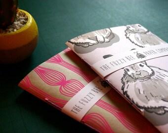 Small A6 Notebook- Purple Winter Bunny Notebook- Blank Notebook