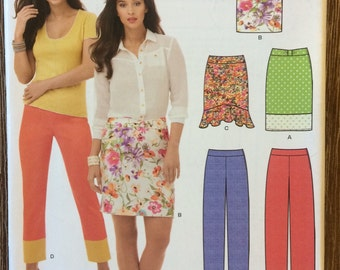 UNCUT New Look 6155 Skirt Sewing Pattern Size 8-10-12-14-16-18 Easy Skirt, Beginners, Capri Pants, Pencil Skirt