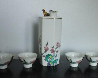 Vintage Sake Set Made In Japan, Hand Painted Cherry Blossoms and gold bird, Asian Decor Porcelain Barware, vintage sake serving set
