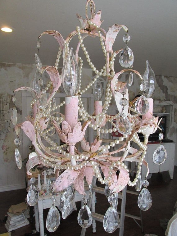 tole lighting shabby cottage chic pink distressed light fixture. Black Bedroom Furniture Sets. Home Design Ideas