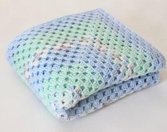 Crochet Baby Blanket Granny Afghan Throw Blue Gray Green White - Nursery Decor Crib Bedding Baby Girl Boy Baby Gift Granny Square Lap Afghan