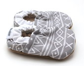 gray aztec shoes baby shoes tribal baby shoes tribal baby booties gray and white gray baby shoes toddler shoes aztec toddler slippers gray