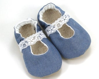 chambray mary janes, baby girl shoes, blue and white, mary jane baby shoes, chambray booties, denim shoes, toddler mary janes, denim booties