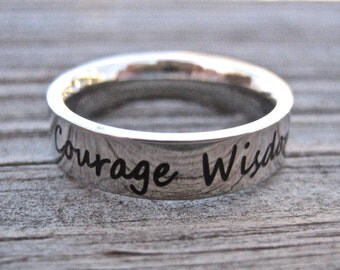 Vintage Stainless Steel Courage, Wisdom, Serenity Ring