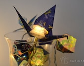 Origami christmas lights with purple and blue papers - one-of-a-kind - 20 LEDs