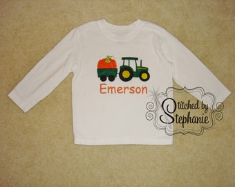 Baby Toddler Boys Embroidered Personalized Monogrammed Fall Halloween Thanksgiving Pumpkin Tractor Applique White Long Sleeve Shirt Bodysuit