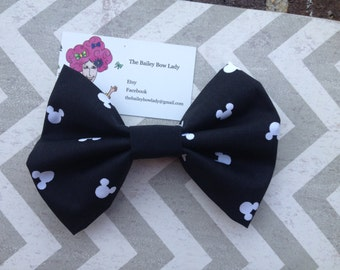 Mickey Mouse Monogrammed Fabric Hair Bow