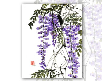 """8 x 10 Watercolor Chinese Brush Painting Print:""""Wisteria"""""""