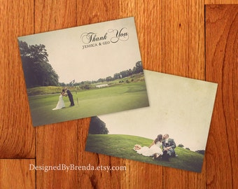 Rustic Vintage Wedding Thank You Card with Photos on Both Sides - Can also be Postcard - Custom Designed with Retro Look - Recycled Material