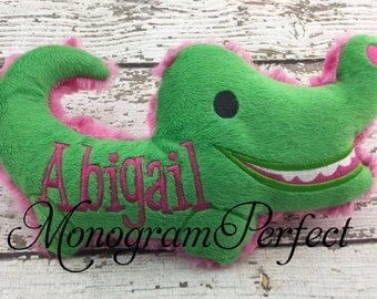 Personalized Hot Pink & Lime Green Alligator Plush Soft Toy