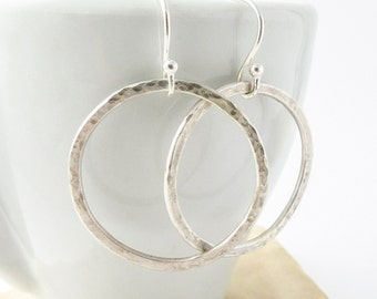 Silver Hoop Earrings - Modern Minimal Hammered Silver Earrings - Boho Chic Earrings - Silver Circle Earrings - Silver Drop Dangle Earrings