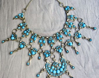 60s Magnificent Indian Bib Necklace - Turquoise Set in Silver