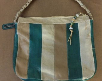 Striped Color Block Leather Shoulder Bag Riri Zipper Clutch Handbag Teal Brown Tan Handmade in USA