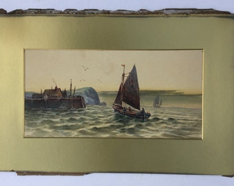 Antique watercolour, Seascape with sailing boat, Fishing boat, Harbour scene with buildings, Fishermen in sail boat, Coastal scene