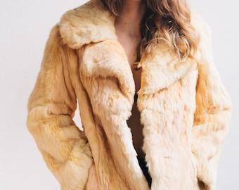 Blonde Dino Ricco Lined Rabbit Fur Coat Size S