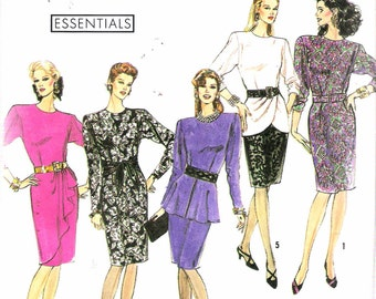 """1990 Simplicity 9910 Dress with Peplum & Drape Variations Sewing Pattern Size HH 6 - 12 Bust 30 1/2"""" - 34"""" UNCUT"""