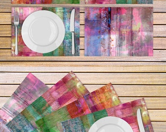 Colorful Table linen - Set of 4 abstract art placemats printed on Vinyl fabric - Housewarming gift idea