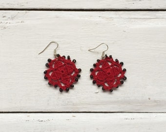 Red Flower Earrings, Oya Beaded Earrings, Crochet Earrings, Oya Dangle Earrings, Crochet Jewelry, Women's Gift, ReddApple